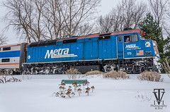 Snowy day Metra in Kenosha (photo-engraver1) Tags: railroad wisconsin train traintracks trains transportation rails metra trainspotting kenosha bilevel f40ph3