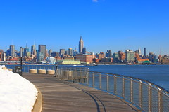 View From Pier C Hoboken NJ (pmarella) Tags: park urban usa snow water fence river landscape manhattan promenade viewlarge pmarella hudsonriver empirestatebuilding empirestate donttrythisathome amomentintime onthewaterfront throughmyglasseye riverviewpkproductions icoverthewaterfront pierchoboken