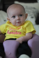 17 Weeks  (Signature Move Siberians) Tags: pink baby girl yellow closeup happy photo interesting infant shoot sister gorgeous daughter bald explore jeans converse madeleine athena chucks 17weeks privett cheezin vision:flower=0556 vision:sky=0568 modeladorable