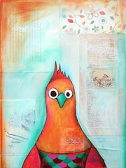 QuartetChicken (Ferntree Studio) Tags: pink blue red horse orange art chicken animal kids painting children fun pig colorful acrylic farm mixedmedia goat whimsical nurserydecor ferntreestudio angelatraunig