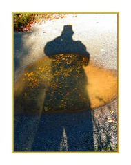 PuddleWorld:  The Terrorist (Walter A. Aue) Tags: world shadow puddle photographer novascotia terrorist trail imagination fatman puddleworld sanchopansa faschingsprinz walteraaue canada lackenwelt pftzenwelt