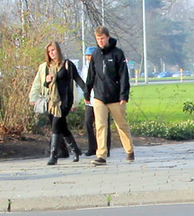 city walk (Peter Roz) Tags: black stockings girl walking couple boots nylon