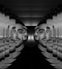 Me, Myself & Ahi (Kispio) Tags: selfportrait me myself insane symmetry mirrored autoritratto bianconero 2sides multiply blackwithe mymind photoscape thesameside kispio