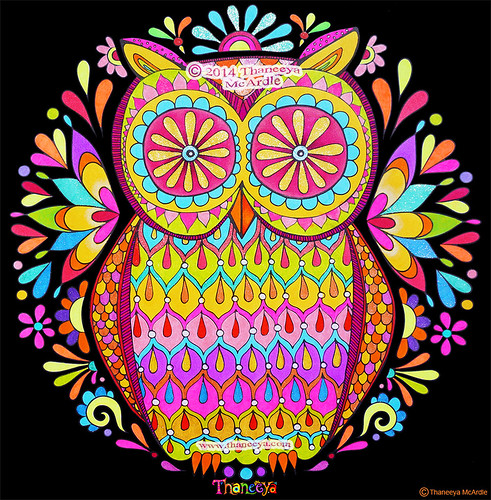 Colorful Fluorescent Owl Art By Thaneeya McArdle