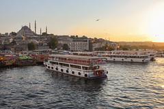 Eminönü, Istanbul (Deborah_K.) Tags: city bridge sunset people urban water ferry turkey bay boat view outdoor restaurants istanbul mosque quay seafood beyoglu turkish bosphorus eminonu iskelesi