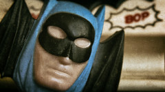 Who Is That Masked Man! (hbmike2000) Tags: old macro closeup vintage wings nikon mask bokeh small bat plastic nightlight batman d200 scratched textured hoya odc weeklytheme closeuplens theflickrlounge hbmike2000