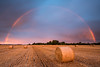 Two Pots of Gold (Stu Meech) Tags: summer sky field sunrise rainbow nikon stu angle wide hard harvest lee d750 hay filters bale grad 1635 meech 06nd