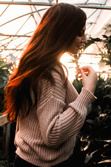 (brklynn) Tags: maddy greenhouse plants old girl hair hairflip redhair red sunset walk flowers greens sassy