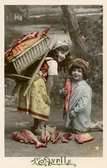 Fish for April 1st (Poisson d'Avril) (Alan Mays) Tags: ephemera postcards realphotopostcards rppc photos photographs foundphotos portraits greetingcards greetings cards holidays aprilfoolsday aprilfools april april1 april1st 1eravril avril poissondavril aprilfish french france fools fish fishes poisson animals children girls boys clothing clothes dresses baskets backpacks humor humorous funny comic amusing strange unusual tinted handtinted handcolored handpainted red yellow green antique old vintage