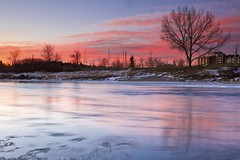 Looking for light (John Andersen (JPAndersen images)) Tags: alberta bowriver calgary clouds december morning red reflections skyline stream sunrise tower trees
