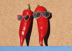 080/365 Feeling the Heat (Helen Orozco) Tags: 2017365 chiles fun sunglasses vegetable fresnochile red heat hot canonrebelsl1 smile two