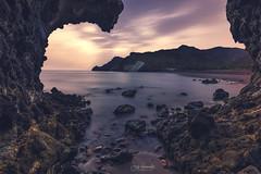 Atardece en Cala  Media Luna (Jose HL) Tags: parquenaturalcabodegata almeria cabo nijar andalucia mar mediterraneo costadealmería playa calas cala seascape rocas paisaje landscape atardecer medialuna
