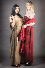 Rose and Sorsie (BarryKelly) Tags: red gold gown dress satin silk blonde scarf dark hair heel shoe stuido shoot light