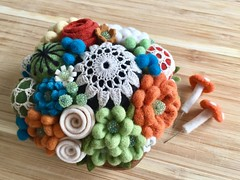Woolly pincushion (woolly  fabulous) Tags: beaded crocheted doily roses green white turquoise rust felt wool flowers woollyfabulous pincushion