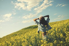 Summer... in may (Catalin_Pop) Tags: summer sky green nature girl yellow canon happy joy young free happiness sunny jeans hippie rapeseed