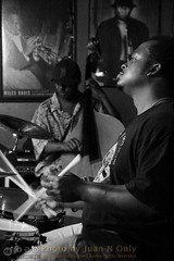 Greg Cook and Butter Hawkins (Juan N Only) Tags: music monochrome drums blackwhite bass michigan detroit livemusic may jazz nightclub bassist drummer grayscale bebop berts johndouglas acousticbass hardbop 2013 gregcook criticismwelcome bertsmarketplace juannonly philliphale