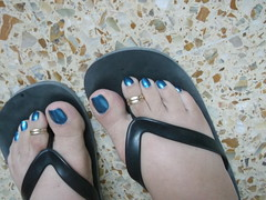 DSCF2145 (sandalman444) Tags: male feet foot long sandals painted mens pedicure toenails toerings