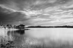 Djur (Endemoniada) Tags: longexposure sunset sky blackandwhite bw house reflection water landscape sweden stockholm archipelago waterscape vrmd nd30