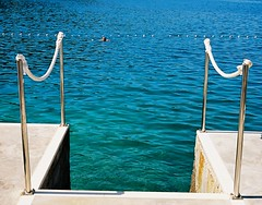Steps to Adriatic (Song-to-the-Siren) Tags: leica sea swimming 35mm steps croatia bluesky rope 35mmfilm analogue dubrovnik adriatic leicaminilux kodakektar100
