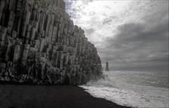 Basalt columns and stacks (Jen St. Louis) Tags: ocean seascape beach landscape iceland waves stormy vik hdr seastacks postprocessing reynisfjara reynisdrangar southiceland basaltcolumns nikon1685mm nikond7000 jenstlouis jenstlouisphotography wwwjenstlouisphotographycom