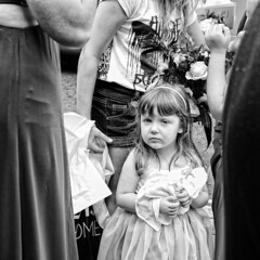 The very suspicious Flower Girl (DeeMac) Tags: wedding blackandwhite bw naturallight 50mm14 littlegirl flowergirl suspicion suspicious iwouldnttrustmeeither nikond700