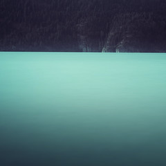 Lakeside (tvc415) Tags: longexposure lake abstract landscape cliffs minimal colourfield