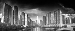 Trump Tower & Chicago Skyline (Mabry Campbell) Tags: illinois il architecture panorama skyline cityscape monochrome bw blackandwhite river water buildings building photographer photograph image photo wayer september pano chicago 2013 mabrycampbell trumptower flickriosapp:filter=nofilter uploaded:by=flickrmobile photography usa us unitedstates iphone iphoneography fav10 fav20 fav30 fav40 fav50 fav60 fav70 fav80 fav90 fav100