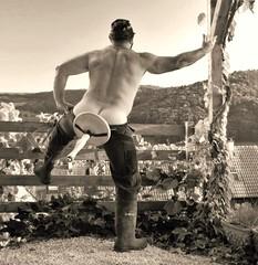 wooden milking stool - sept. 2013 (Marsum) Tags: beefy buff rubberboots gummistiefel brawny stocky melkstuhl swissfarmer schweizerbauer milkerstool