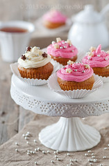 Sweet cupcakes (Oxana Denezhkina) Tags: pink party food white home cup cake vintage table dessert baking hand sweet chocolate background cream nobody gourmet celebration cupcake sprinkles snack swirl chic diet luxury frosting unhealthy baked frosted decorated buttercream shabby