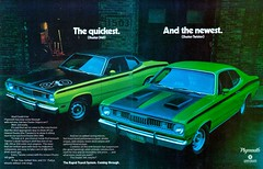 1971 Plymouth Duster 340 & Twister (Rickster G) Tags: 1969 ads 1974 1971 flyer 60s plymouth convertible literature transit duster 70s valiant 1970 hemi mopar twister sales 1972 brochure rapid 440 1973 rallye musclecar compact 340 426 383 4406 sixbarrel scatpack