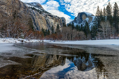 Frosted Yosemite (Darvin Atkeson) Tags: california travel vacation snow reflection ice forest river flow snowflakes frozen nationalpark unitedstates nevada merced sierra yosemite halfdome northdome darvin atkeson darv liquidmoonlightcom