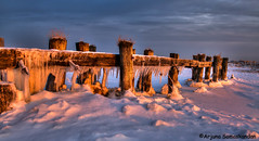 Fifty Point Conservation -  Frozen -4 (digithief) Tags: snow ontario canada ice sunrise pier nikon grimsby fiftypointconservationarea remainsofapier