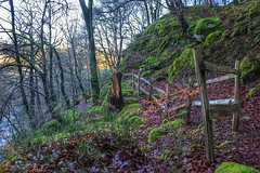 Memorial trail at Dolgarrog (ashperkins) Tags: fence moss northwales dolgarrog canoneos550d fencefriday ashperkins