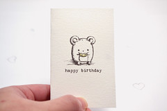 Little mouse birthday card (mohu mohu) Tags: birthday cute animals cheese illustration ink mouse happy store handmade small doodle card kawaii greeting mohu