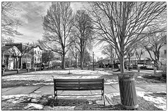 Central Square, Bridgewater. MA (Timothy Valentine) Tags: blackandwhite panorama bench large monday 0214 bridgewaterma impressedbeauty silverefex iphone5sbackcamera412mmf22 iphone36530