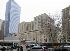 Federal Court House overlooking Ground Zero (wandering tattler) Tags: 2001 nyc newyorkcity newyork tower memorial manhattan worldtradecenter 911 attack terrorist ground terrorism wtc zero groundzero nineeleven 2014 freedomtower