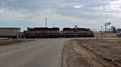 Stretching Across The Highway (SW Rail Photos) Tags: train oshkosh emd gp382 wsor wisconsinsouthern l595 localfreight oshkoshsub