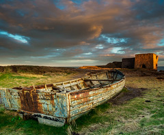 Lost industries (burnsmeisterj) Tags: olympus omd em1 boat sunset scotland boddinpoint decay sky clouds rust limekiln