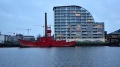 Lightship and Flats (35mmMan) Tags: london docklands city urban metropolis dusk uk e16 nikon docks lightship marine river flats