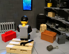 Thinking at night (Heksu) Tags: lego garage tool shelf