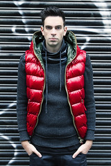 Man in Red shiny vest (vanes_hud) Tags: duvetica shiny glanz glänzend gstar fashion trendfashion badboy baggy intense bad boy cute hottie jeans gay model malemodel teenager leder malefashion mode