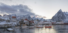 Hamnoya Harbour Reine, Lofoten (Jyrki Liikanen) Tags: hamnoya lofoten norway harbour ship boat fishing fishingharbour mountains seaside seashore calm serene serenity tranquil tranquility coldness ice evening winter march traditional pier