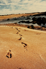 Footsteps in the sands of Oualidia (nep000) Tags: ocean africa sunset sky beach clouds coast retro atlantic morocco maroc oualidia awalkthroughafrica