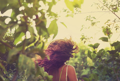 The Other Hopeful Transmission (TheColdWhisper) Tags: summer vacation plants selfportrait green girl self warm soft free flip hairflip