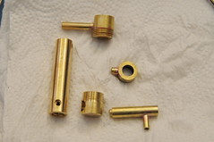 Sight gauge assembly pieces (edhume3) Tags: brass metalworking fabrication scratchbuilt gauge1 kozonewshay d301251 boilerbackhead