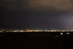 ABQ Dance of Lightning - 14 (Paula High (KE5DDZ)) Tags: sky storm newmexico weather night evening albuquerque citylights abq lightning thunder thunderstorms