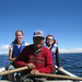 Marla and Elsa with their boat guide - Bolivia and the Galapagos Islands cross-cultural