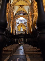 City of Barcelona, Spain (kyweb) Tags: barcelona church window abbey architecture facade spain europe catholic arch exterior cathedral district interior basilica religion gothic chapel stain