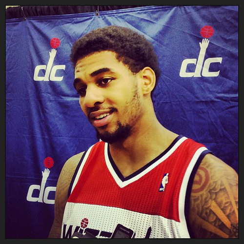 Glen Rice Jr. said Martell Webster has been talking to him the most about defensive concepts/positioning during scrimmaging, even when he's on the other team. #Wizards