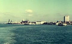 Departing Portsmouth - 1972 (Sir Hectimere) Tags: isleofwight englishchannel portsmouthharbour ferryboats shipsandboats portsandharbours portsmouthhampshire portsmouthnavalbase
